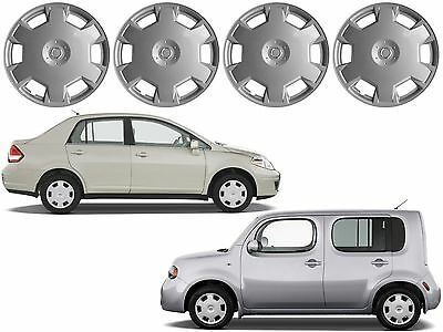 """4 Replacement Hub Caps 15"""" For 2009-2010 Nissan Cube 2007-2010 Nissan Versa New"""