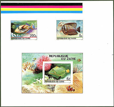 Zaire 1980 Tropical Fish set (8+ MS) Printer's PROOFS fine MNH Lovely large size