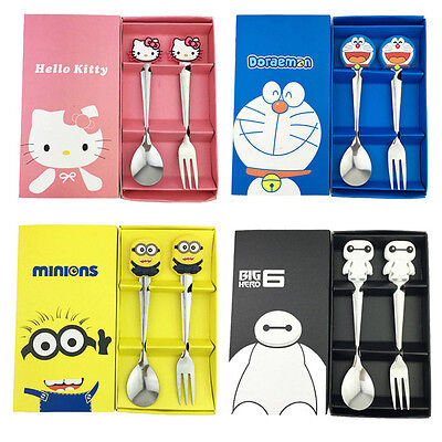 Baby Kids Dinnerware Set Tableware Hello Kitty Minions Doraemon Spoon and Fork