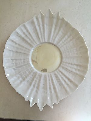 Antique Belleek Black Mark Porcelain Tridacna Bread Tray Cake Plate Platter