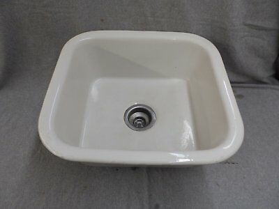 Vintage Ceramic Pottery White Kitchen Sink Basin Old Standard Plumbing 1290-16