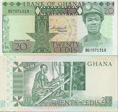 "Ghana 20 Cedis Banknote 6.3.1982 Uncirculated Condition Cat#21-C-1319""Miner"""