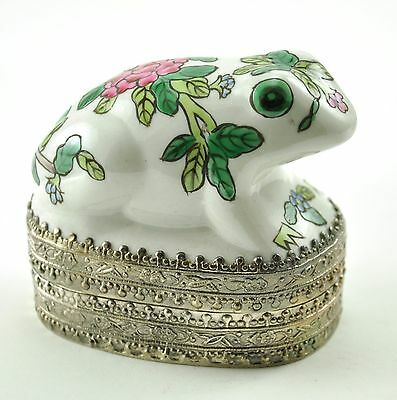"3"" Vintage Chinese Shard Box Tibetan Silver Porcelain Jewelry FROG Hand painted"