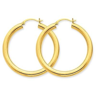 14k Yellow Gold Polished 4mm Lightweight Round Hoop Earrings (1.3IN Long)