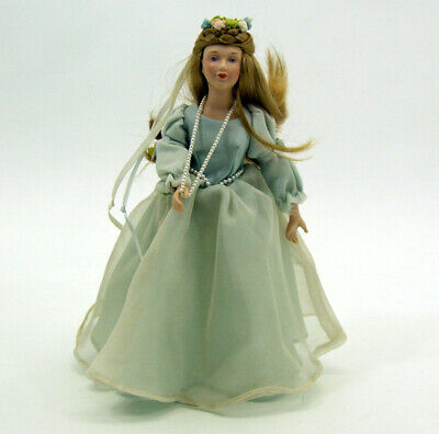"1984 Avon Fairy Tale Collection Cinderella Porcelain Doll Blue Dress 9 1/2"" VGD"