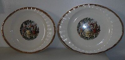 2 The Cronin China Co. Pottery Oval Ceramic Serving Platter dish Louis VX images