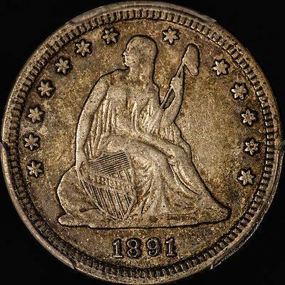 1891 Liberty Seated Quarter Pcgs Vf 35