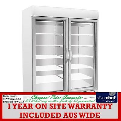 Fed Commercial Colorbond Display Freezer Two Glass Door Upright Cold 920L Sd930