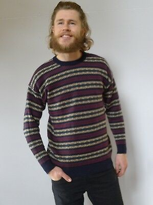 Vintage retro true 90s mens knit wool jumper excellent