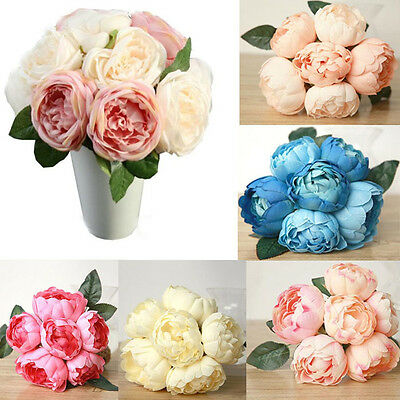 Artificial Peony/Rose Silk Flower Hydrangea Bouquet Home Wedding Party Decor UK