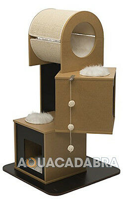 Vesper V-Tower Cat Scratch Tree Modern Furniture Black & Walnut Hidey Holes
