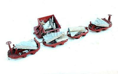 KIT BUILT 32mm NARROW GAUGE RAKE OF 5 QUARRY STONE WAGONS WITH LOADS