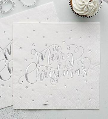 Silver Foiled Merry Christmas White Paper Napkins x 20 3 ply - 33cm square