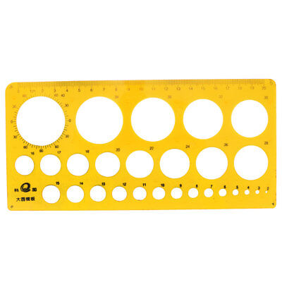 2mm-40mm Diameter Range Circles Drawing Stencil Template Ruler Clear Yellow