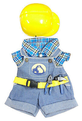"""Construction Worker w/ Hat Outfit Teddy Bear Clothes 14-18"""" Build-A-Bear n More"""