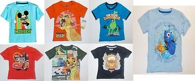 Disney Toddler Boys T-Shirts Mickey Lion King Dory Cars ETC Various Sizes NWT
