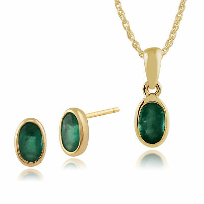 9ct Yellow Gold Emerald Framed Oval Stud Earrings & 45cm Necklace Set