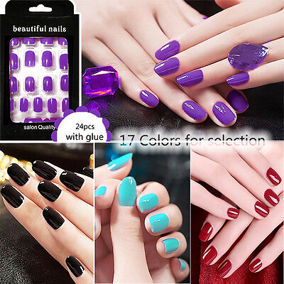 New 24Pcs Solid Color French False Nails Nail Art Design Nail Tips With Glue