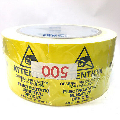 "Uline ESD Static Warning Labels Stickers  2""X2"" 500 per Roll S-2245 Yellow"