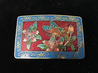 Vintage small enamel flowers buds and butterfly belt buckle rectangular design