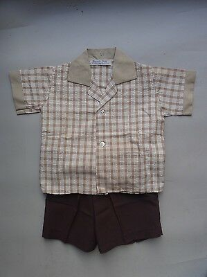 Vintage retro baby true 50s 1 yo toddler boys suit shirt shorts NOS Mod