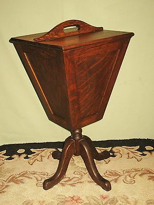 Rare Vintage Solid Tiger Stripe Oak Sewing Table/stand Tapered Sides Original