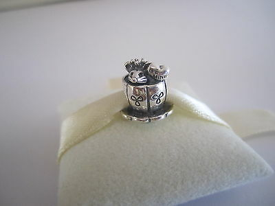 Genuine Authentic Pandora  Silver Mouse in Tea Cup Charm 791107