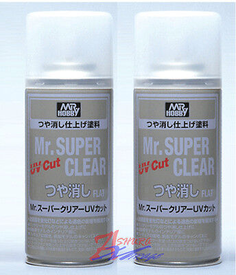 MR HOBBY Creos GSI ACRYLIC SPRAY 170ml SUPER CLEAR UV Cut FLAT MATT B523 x2pcs