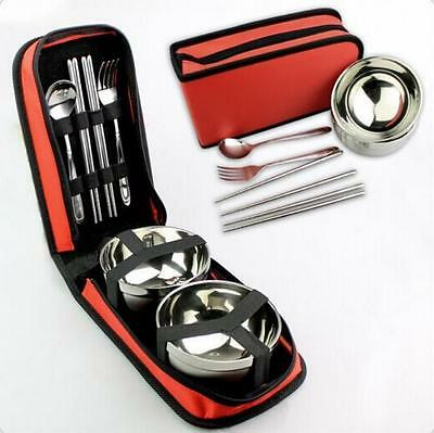 Outdoor Stainless steel Tableware Bowl Plate Camping Double picnic cutlery set