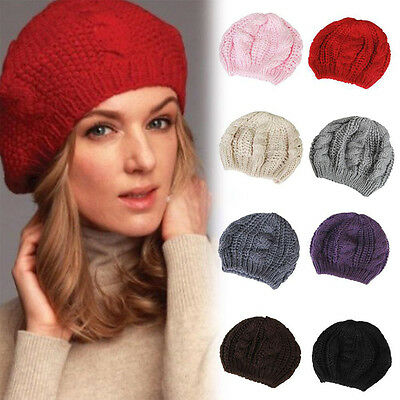 Women Vogue Beret Braided Baggy Knit Crochet Beanie Hat Ski Cap Winter Warm Cap