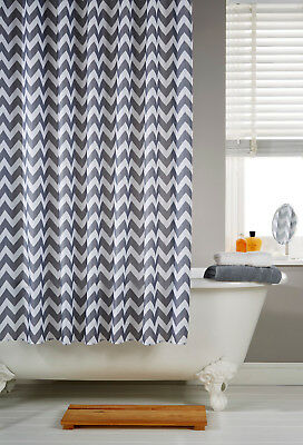 Waterline Vibrant Chevron Grey Polyester Shower Curtain Including 12 Hooks