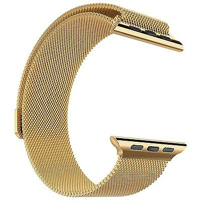 Apple Watch Band + Gold Plated Case 42mm Biaoge Steel Loop Milanese Wrist Band