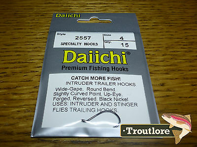 15 x DAIICHI 2557 #4 INTRUDER TRAILER HOOKS BLACK NICKEL - NEW FLY TYING HOOK