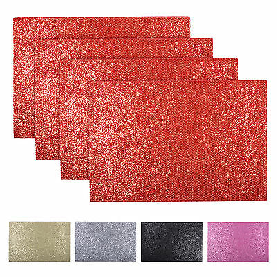 Set Of 4 Christmas Sparkly Glitter Place Mats Dinner Table Protective Tableware