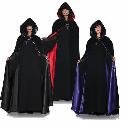 "63"" Deluxe Velvet & Satin Fancy Dress Party Halloween Accessory Hooded Cape"