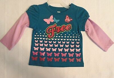 Faded Glory Baby Girls 12 Month Long Sleeve Butterfly Cotton Shirt NWT