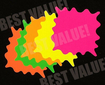 """3"""" Square Fluorescent Star Burst Price Tags Neon Retail Sale Cards Signs"""