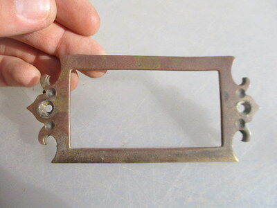 Antique Brass Index Card Holder Drawer Hardware Label Vintage Church Gothic Old