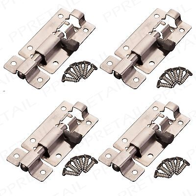 "4x Small/Mini Stainless Steel Slide Bolts & Screws 50mm/2"" Door Catch Lock Latch"