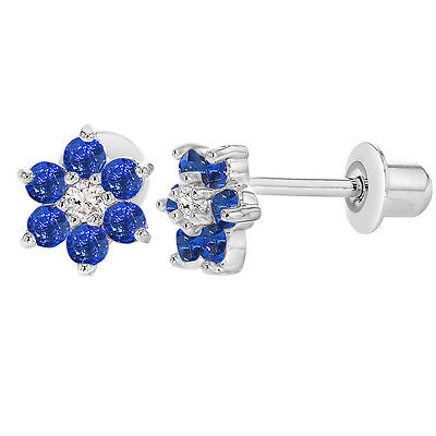 Rhodium Plated Navy Blue Crystal Flower Baby Girl Screw Back Earrings