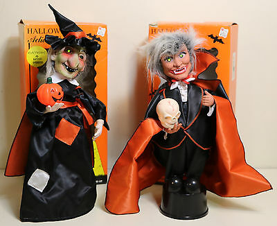 2 Rennoc Halloween Animated WITCH & Dracula VAMPIRE Action FIgure Lights & Sound