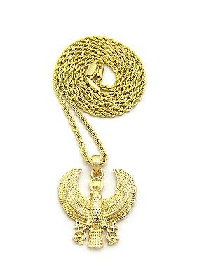 "Egypt Fashion Ancient Mini Size Horus Bird Pendant 2mm 24"" Rope Chain Necklace"