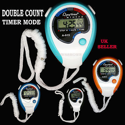 Digital Handheld BLUE Sports Stopwatch Stop Watch Time Alarm Counter Timer Uk