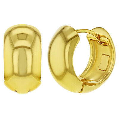 18k Gold Plated Classic Plain Wide Huggie Small Hoop Earrings for Women 0.70""
