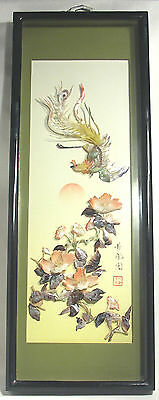 Vintage Japanese Hand Carved Shell Art Shadow Box