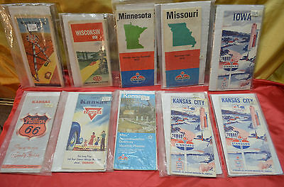 10 Vintage Road Maps Standard Phillips 66 Conoco AAA Gas/Oil Companies 1950 - 76
