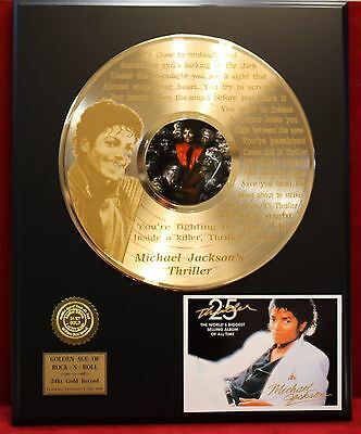 "Michael Jackson ""Thriller"" laser etched lyrics Gold LP display"