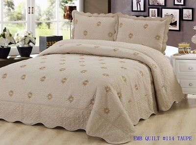 Bedding 3 Piece / Bedspread Bed Quilt Set / Embroidered / 2 Pillow Sham, Taupe