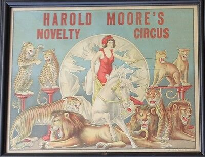 graphic old paper litho poster sign advertising Harold Moore's Novelty Circus