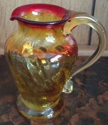 Vintage Hand Blown Swirl Art Glass Amber Red Miniature Creamer Toothpick Holder